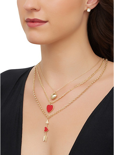Heart Arrow Charm Necklace with Stud Earrings,RED,large