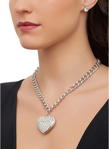 Rhinestone Heart Chain Necklace with Earrings,SILVER,large