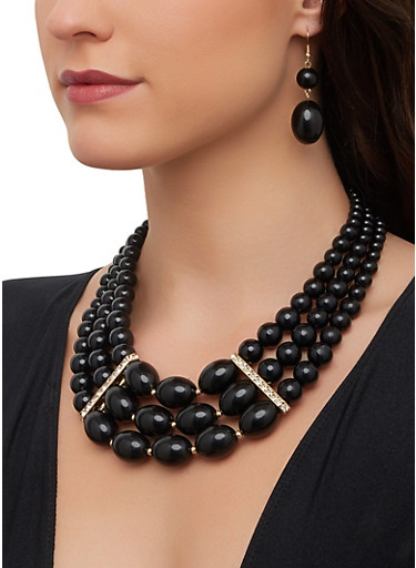Beaded Stretch Bracelets with Necklace and Drop Earrings,BLACK,large