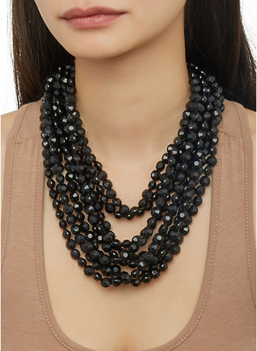 Layered Beaded Necklace,BLACK,large