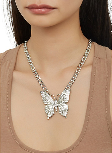 Butterfly Curb Chain Necklace and Stud Earrings Set,SILVER,large