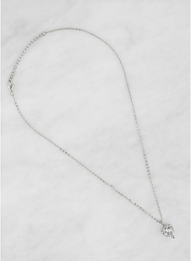 Heart Cubic Zirconia Necklace,SILVER,large