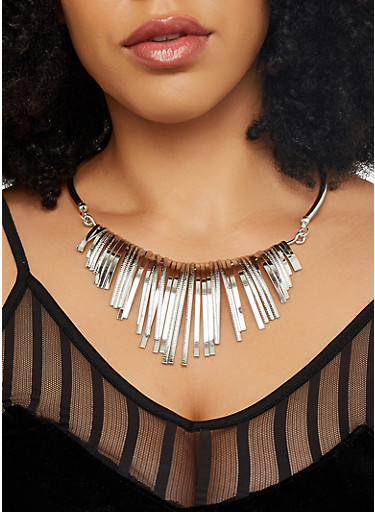 Metallic Stick Necklace and Earrings Set,SILVER,large