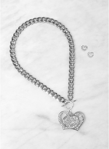 Rhinestone Heart Curb Chain Necklace with Stud Earrings,SILVER,large