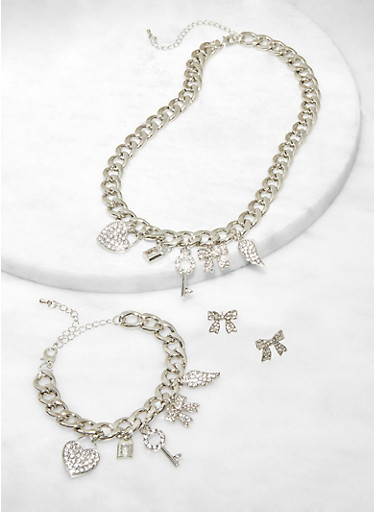 Rhinestone Curb Chain Charm Necklace with Bracelet and Stud Earrings,SILVER,large