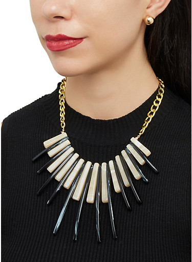 Plastic Stick Fringe Bib Necklace with Stud Earrings,BLACK,large