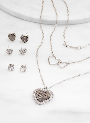 Pave Heart Layered Necklace with Stud Earring Trio,SILVER,large
