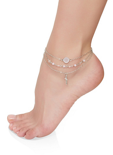 Beaded Cross Charm Anklet Trio,SILVER,large