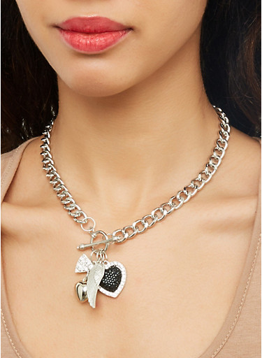 Charm Toggle Necklace with Drop Earrings,SILVER,large