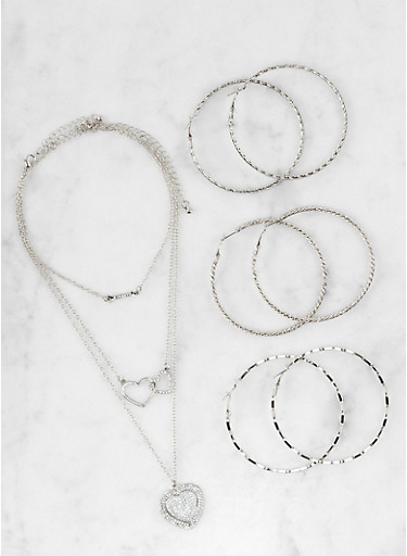 Set of Rhinestone Necklaces and Hoop Earrings,SILVER,large