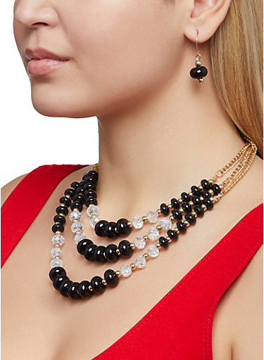 Layered Beaded Necklace and Earrings,BLACK,large
