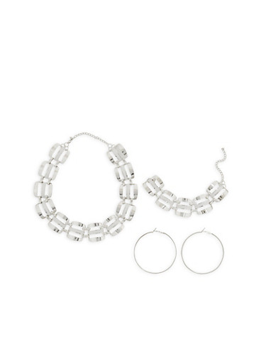 Glitter Metallic Linked Chain Necklace and Bracelet with Hoop Earrings,SILVER,large