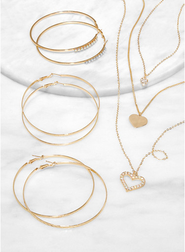 Rhinestone Heart Layered Charm Necklace and Hoop Earring Trio,GOLD,large