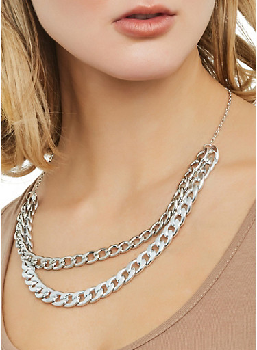 Curb Chain Necklace with Bracelet and Hoop Earrings,SILVER,large