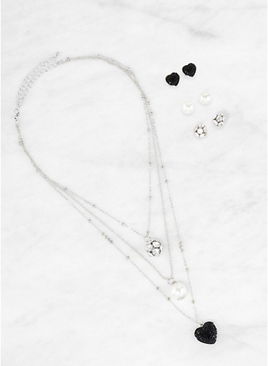 Layered Rhinestone Heart Charm Necklace and Stud Earrings Set,SILVER,large