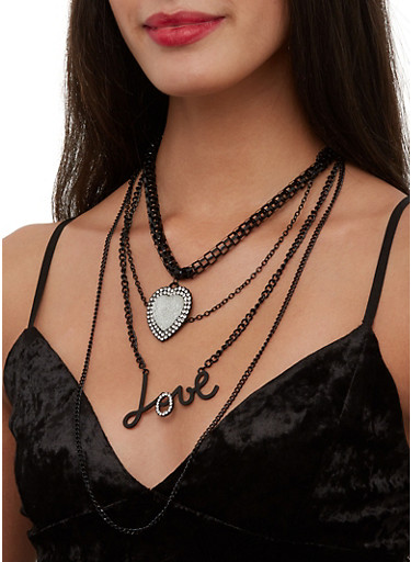 Love Layered Necklace with Heart Earrings,BLACK,large
