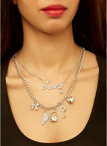Charm Necklaces with Stud Earrings,SILVER,large
