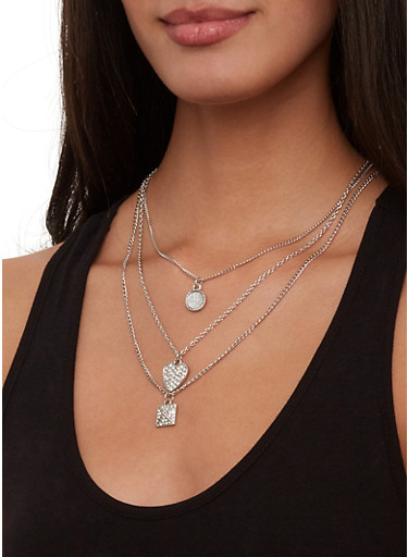 Layered Charm Necklace with Hoop Earring Trio,SILVER,large