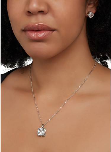 Square Cubic Zirconia Necklace and Earrings,SILVER,large