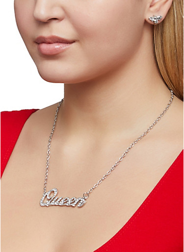 Queen Charm Necklace with Bee Stud Earrings,SILVER,large
