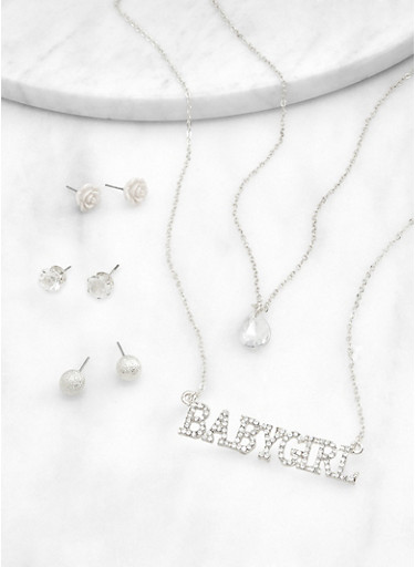 Babygirl Layered Necklace with Stud Earrings,SILVER,large