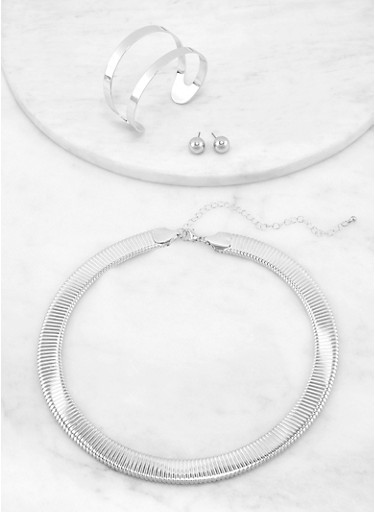 Omega Collar Necklace with Cuff Bracelet and Stud Earrings,SILVER,large