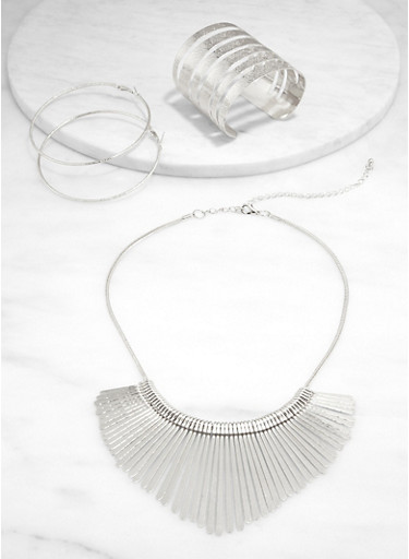 Stick Necklace with Cuff Bracelet and Hoop Earrings,SILVER,large