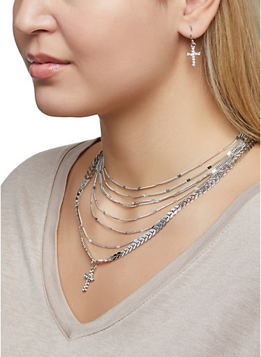 Layered Cross Charm Chain Necklace and Earrings Set,SILVER,large