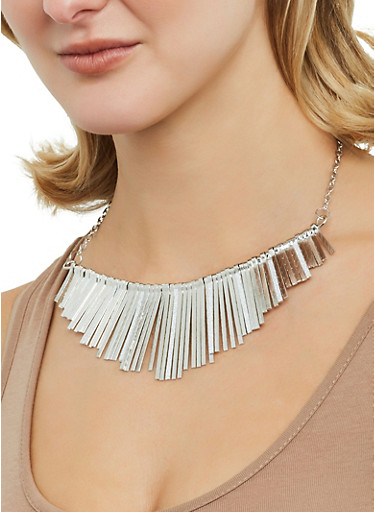 Glitter Stick Necklace with Bangles and Earrings,SILVER,large