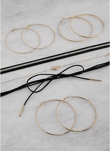 Set of Choker Necklaces and Hoop Earrings,BLACK,large