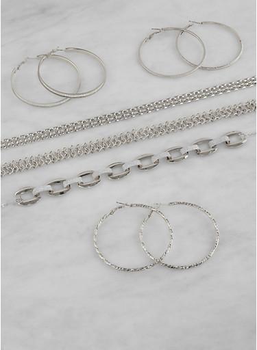 Metallic Chokers and Hoop Earrings Set,SILVER,large