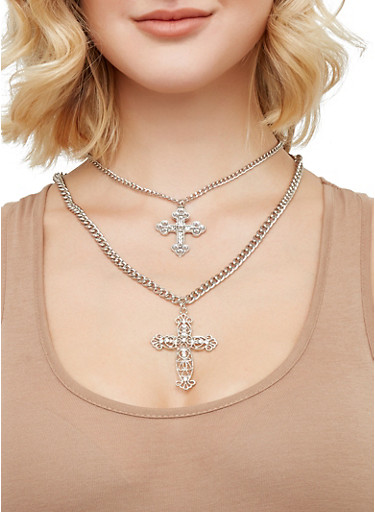 Layered Cross Pendant Necklace and Hoop Earrings Set,SILVER,large