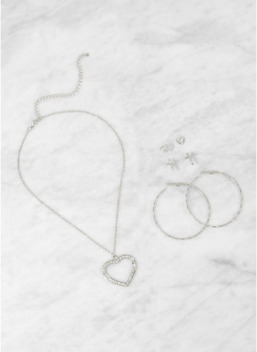 Rhinestone Heart Necklace with Stud and Hoop Earrings,SILVER,large