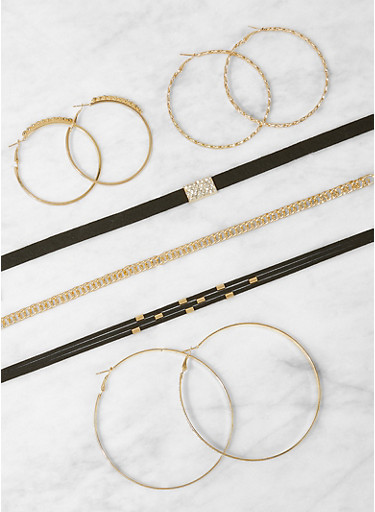 Set of Choker Necklaces and Hoop Earrings,BLACK,large