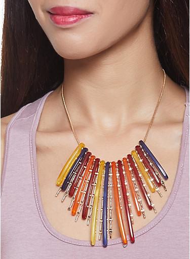 Plastic Stick Necklace,MULTI COLOR,large
