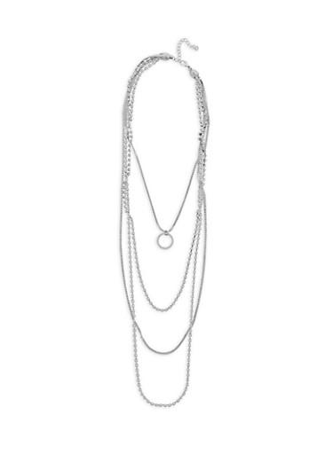 Rhinestone Circle Pendant Layered Necklace,SILVER,large