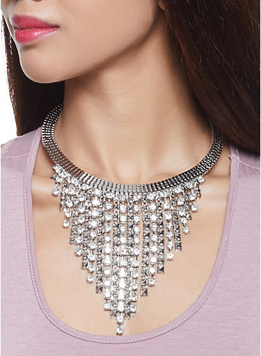 Rhinestone Studded Fringe Necklace with Earrings,SILVER,large