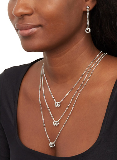 Layered Charm Chain Necklace and Drop Earrings Set,SILVER,large