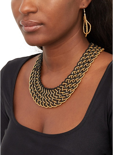 Braided Bead Necklace with Drop Earrings,BLACK,large