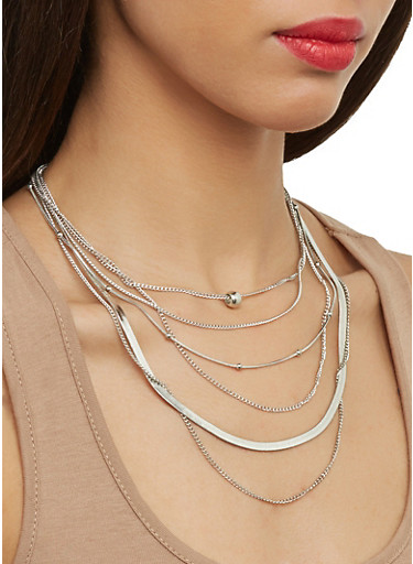 Layered Chain Necklace with Stud Earrings,SILVER,large