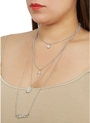 Layered Blessed Necklace with Stud Earrings,SILVER,large