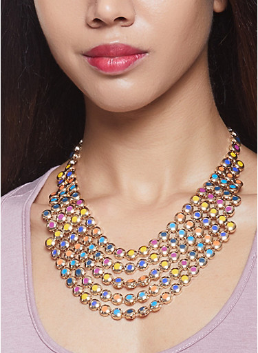 Layered Metallic Bib Necklace with Earrings,MULTI COLOR,large