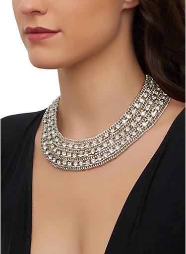 Chain Rhinestone Collar Necklace,SILVER,large