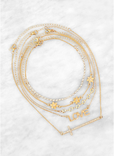 Assorted Love and Flower Charm Necklace Set,GOLD,large