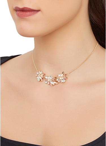 Rhinestone Flower Chain Necklace,GOLD,large