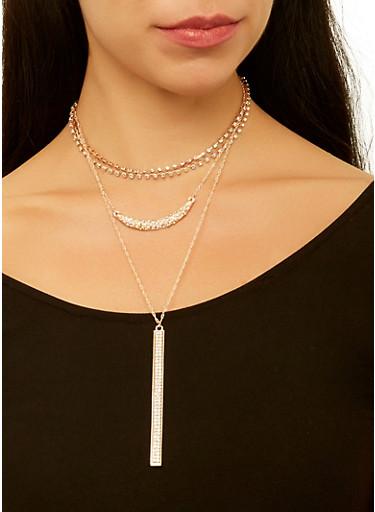 Layered Rhinestone Necklace and Stud Earrings Set,ROSE,large