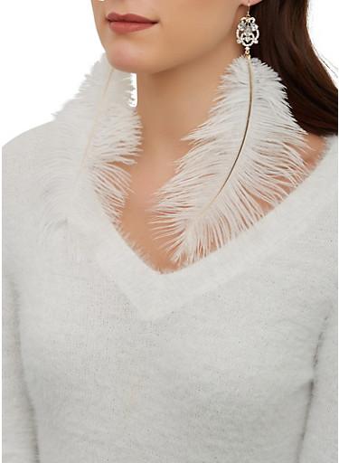 Large Rhinestone Feather Earrings,WHITE,large