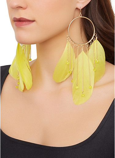 Dream Catcher Feather Earrings,LIME,large