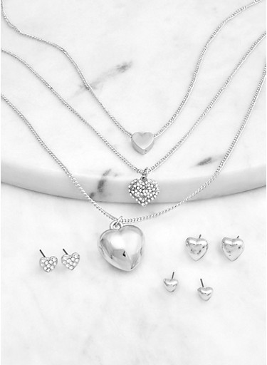 Multi Heart Charm Necklace with Earring Trio,SILVER,large