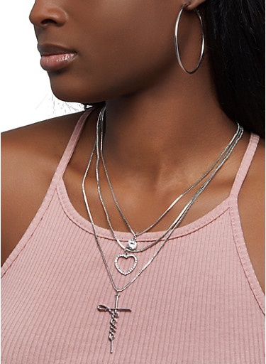 Layered Jesus Necklace with Hoop Earrings,SILVER,large